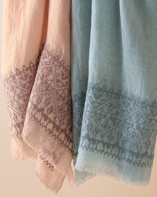 Vismaya Linen Gauze Embroidered Scarf