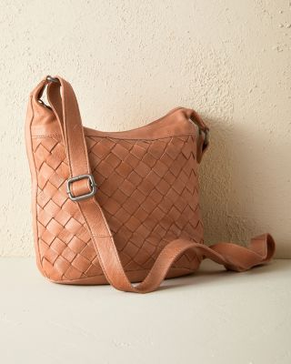 Latico Basket-Weave Leather Cross-Body Bag