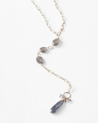 Original Hardware Gray Moonstone Pendant Necklace
