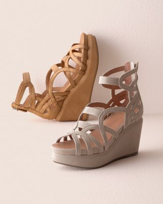 Gentle Souls Elastic Joy Platform Wedge Sandals
