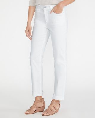 EILEEN FISHER Organic-Cotton Stretch Straight White Jeans Petite