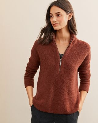Cashmere-Blend Boucle Zip Sweater