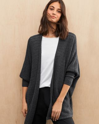 Textured Cocoon Cardigan Sweater