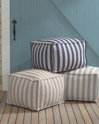 Cabana Stripe Indoor-Outdoor Pouf by Dash & Albert