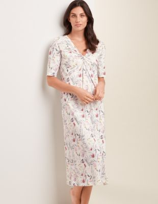 Twist-Front Cotton Knit Nightgown