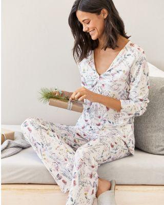 Twist-Front Cotton Knit Pajamas