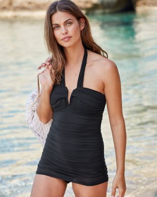 Carmen Marc Valvo Marche de Solids Halter Swim Dress