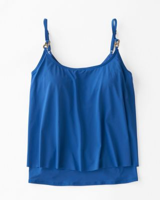 Michael Kors Double-Layer Tankini Swimsuit Top