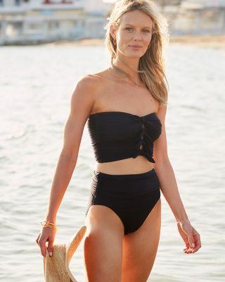 Carmen Marc Valvo Sunlit Seas Bandeau Bikini Swimsuit