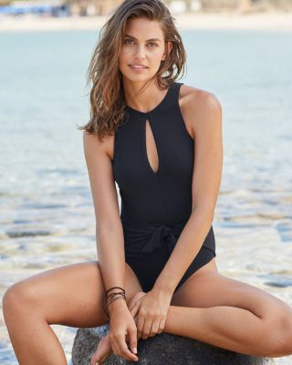 Robin Piccone High-Neck Keyhole One-Piece Swimsuit