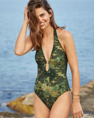 Robin Piccone Plunge-Neck One-Piece Swimsuit