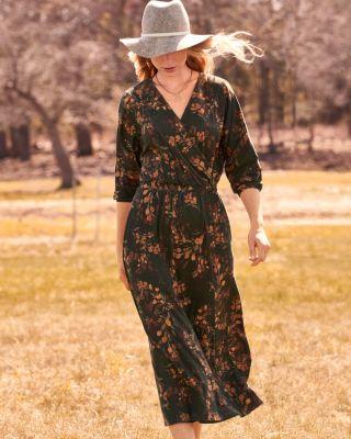 Batwing Wrap-Detail Knit Dress