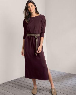 Bateau-Neck Knit Midi Dress