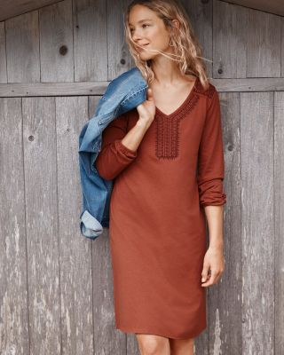 Embroidered-Yoke Knit Dress