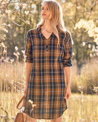 V-Neck Organic Cotton Gauze Shirtdress