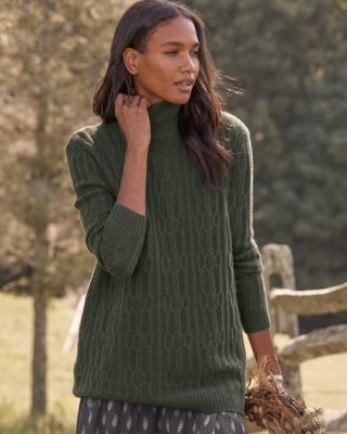 Oversized Cabled Turtleneck Sweater