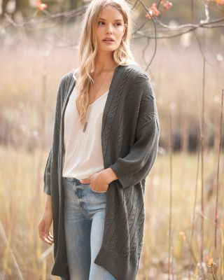 Wool and Linen Lantern-Sleeve Cardigan Sweater