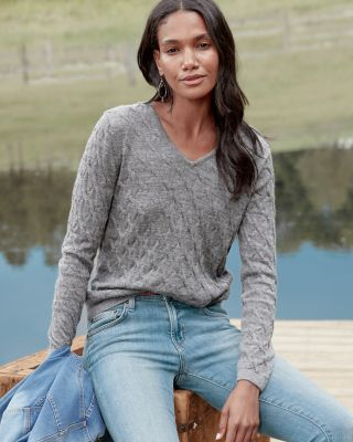 Alpaca & Cotton V-Neck Sweater