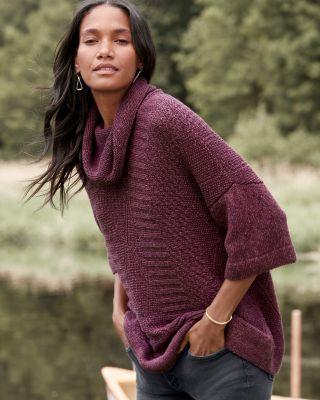 Alpaca & Cotton Cowl-Neck Sweater
