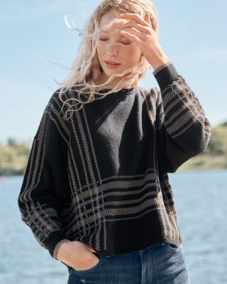 Slouchy Plaid Wool & Hemp Sweater
