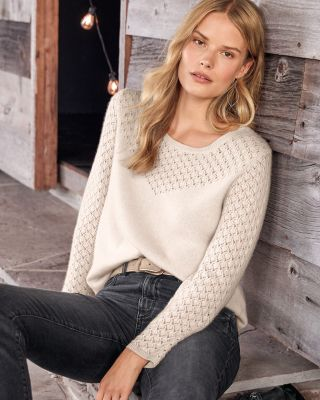 Cashmere Lace-Stitch Pullover Sweater