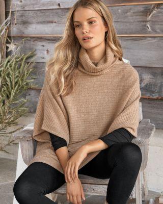 Horizontal-Rib Cashmere Sweater Cape