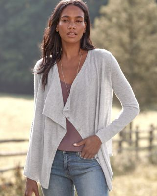 Modern Cashmere Drape-Front Cardigan Sweater