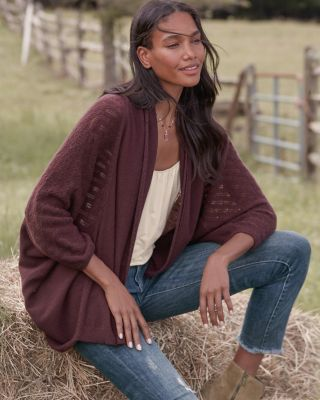 Cashmere Shawl-Collar Cocoon Cardigan Sweater