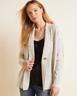 Recycled-Cashmere One-Button Cardigan Sweater