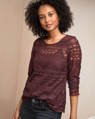 Embroidered-Lace Knit Top With Camisole