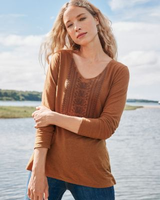 Hemp & Cotton Embroidered Knit Top