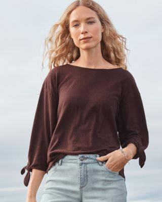 Hemp & Cotton Tie-Sleeve Knit Top