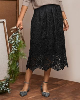 Scalloped Lace A-Line Midi Skirt