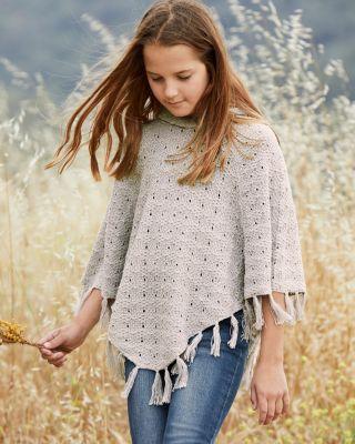 Girls' Organic-Cotton Hooded Poncho