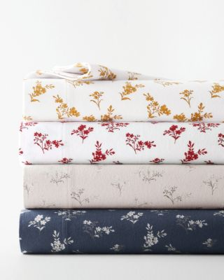 Cozy Vintage Floral Organic-Cotton Flannel Sheets