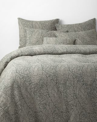 Paisley Relaxed-Linen Fitted Duvet Cover