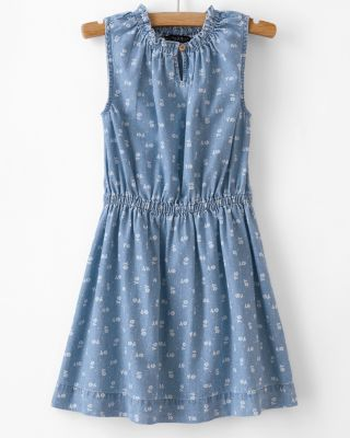 Girls' Blu & Blue Cotton Chambray Dress