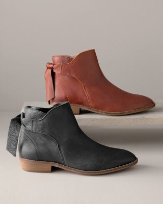 Nora Tie-Back Leather Ankle Boots