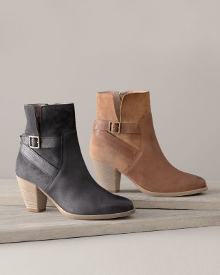Riley Heeled Suede Buckle Boots