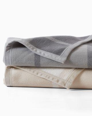 Windowpane Cotton Fleece Blanket by Garnet Hill