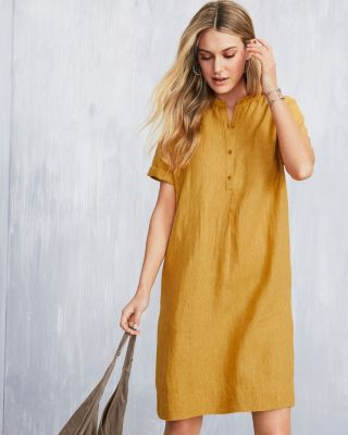 EILEEN FISHER Washed-Organic-Linen Delave-Dyed Dress