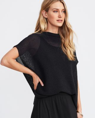 EILEEN FISHER Sheer Organic-Cotton Ribbed Boxy Sweater