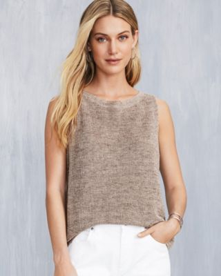 EILEEN FISHER Organic-Linen Melange Sleeveless Sweater