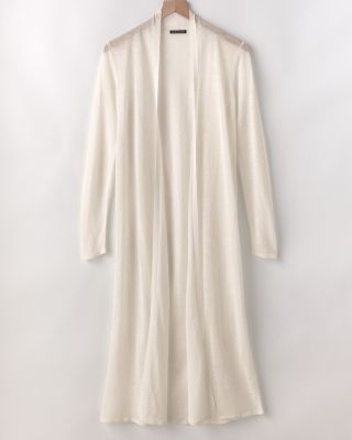EILEEN FISHER Organic-Linen Crepe Long Cardigan Sweater