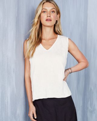 EILEEN FISHER TENCEL™ Crinkle V-Neck Shell