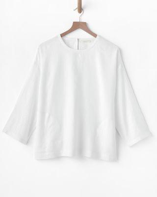 EILEEN FISHER Organic-Handkerchief-Linen Pocket-Detail Top