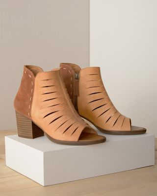 Avery Leather Open-Toe Bootie