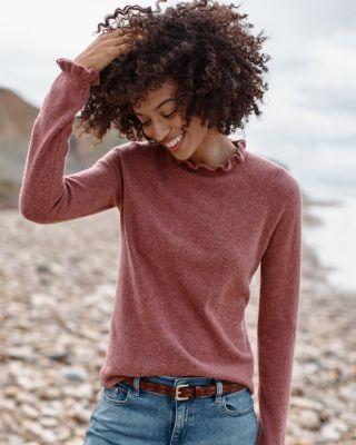 Cashmere Ruffled-Mock-Neck Sweater