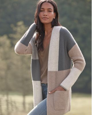 Cashmere Color-Block Cardigan Sweater