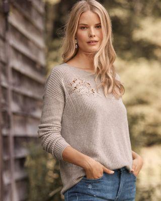 Cashmere Lace-Yoke Sweater